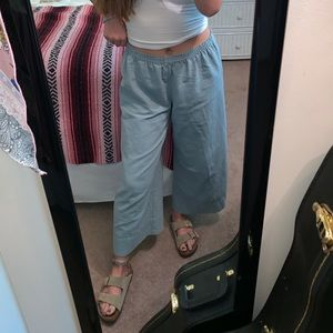 Soft Surroundings Light Blue Cropped Wide Leg Pant